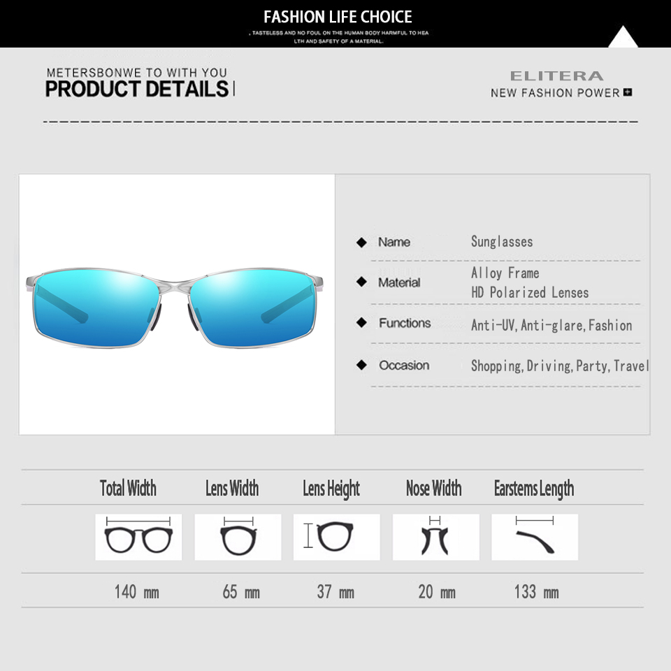 Image 5 - Elitera masculino clássico polarizado óculos de sol liga pernas esportes ao ar livre luz 100% óculos de proteção uvÓculos de sol   -