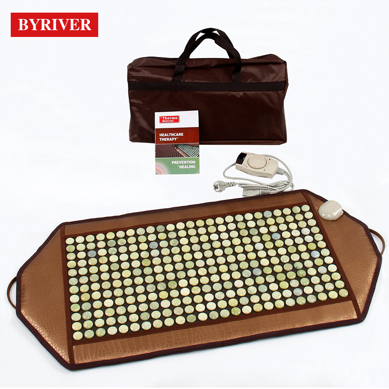 BYRIVER Natural Real Jade Mat Cushion Therapy Korea Far Infrared Heating Mattress Relief Back Pain Gift for Parents 92*45CM image