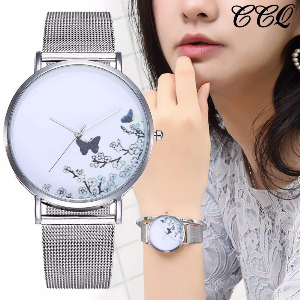 CCQ Brand Stainless Steel Silver Mesh Band Creative Quartz Watch Casual Women Fashion Simple Watch Relogio Feminino Hot