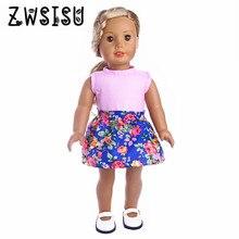 Rosa T-shirt plus blommig klänning, lämplig för 18-tums amerikansk tjej docka, lämplig för 43cm zapf docka, ge barn lekkamrat