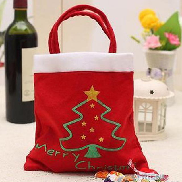 4pcs Creative Christmas Tree Pattern Santa Claus Candy Bag Handbag Home  Party Decoration Gift Bag Christmas Supplies 68a61df0270cb