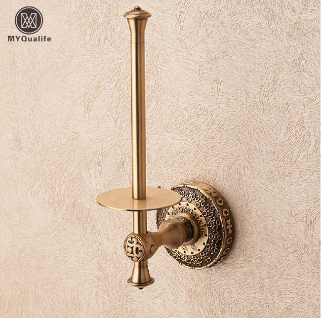 Free Shipping Antique Brass Standing Toilet Paper Holder Wall Mount Roll Paper Tissue Rack kitbun6101bwk390 value kit toilet tissue 9quot diameter bun6101 and boardwalk disposable apron bwk390
