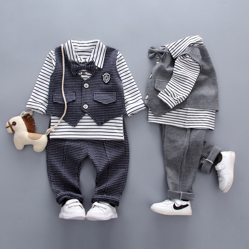 DapChild Brand Boys Clothing Set Spring Gentleman Suit British Style Plaid Vest + Pants + Shirt With Tie Fashion Baby Boys Dress kids clothing set plaid shirt with grey vest gentleman baby clothes with bow and casual pants 3pcs set for newborn clothes