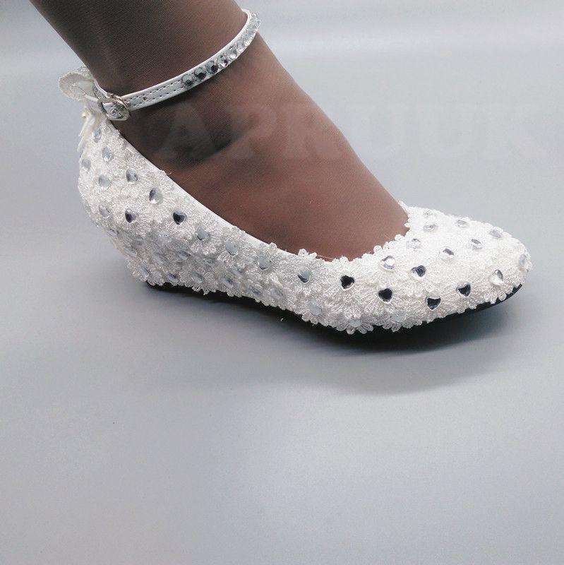 Talon Cristal Dentelle Nuptiale Blanc Cm Strass Chaussures Sangles Papillon Mariée 5 Demoiselle Argent Boucle De Cheville Coins Mariage D'honneur Pompes PEcfBfZqW7