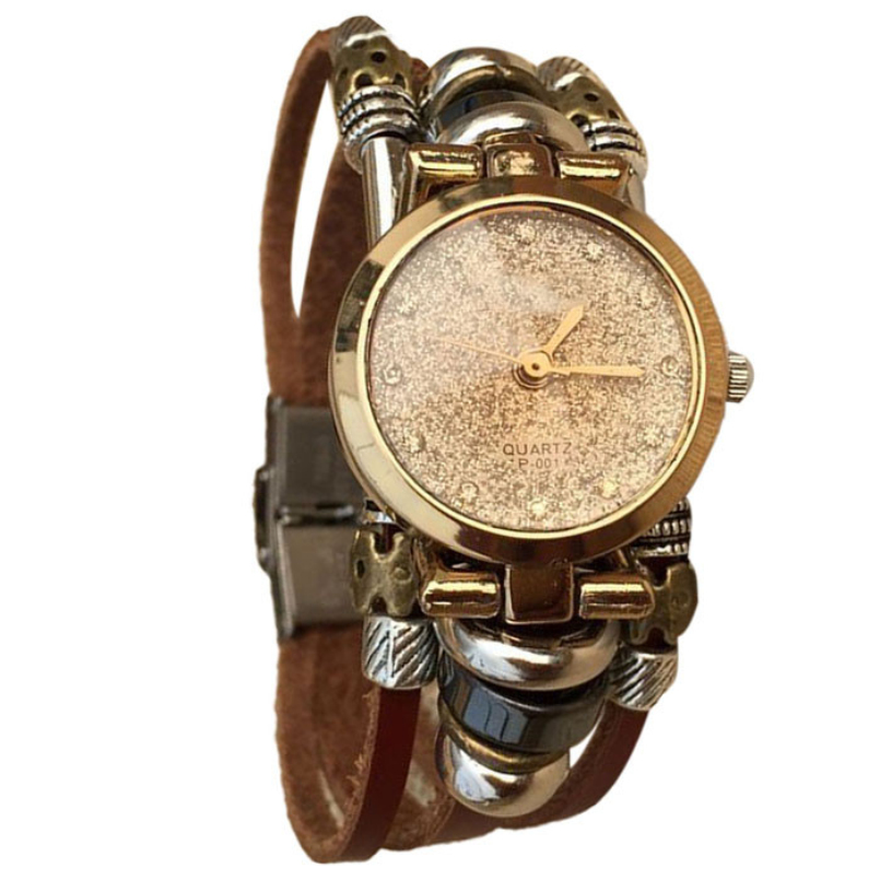 Excellent Quality Women Watch Fashion Watch Wrap Winding Vintage Watch Cow leather Bracelet Watches Ladies Women Wristwatches
