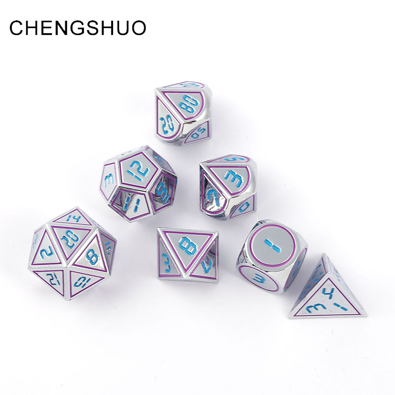 Chengshuo dnd dice metal rpg set polyhedral dungeons and dragons d20 10 8 12 table game Zinc alloy silvery dices pattern digital