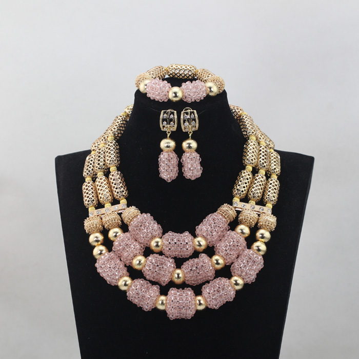 Pretty Fashion African Wedding Gold Mix Pale Pink 3 Rows Crystal Beads Jewelry Sets Necklace African