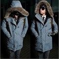 2017 algodão-acolchoado casacos de golas de Pele de inverno longo parkas com capuz