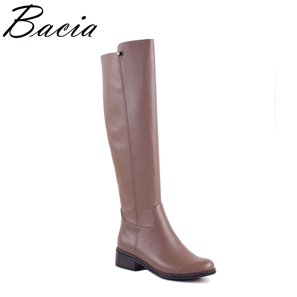 Bacia New Knee high Genuine Leather & PU Boots Women Autumn Shoes Brown Low Heel Zip Shoes 35 40 High quality Size 36 40 MC016