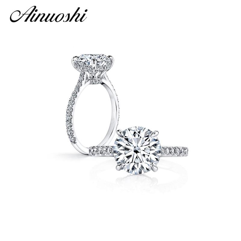 AINUOSHI grande Promotion bague 925 en argent Sterling 2 carats SONA NSCD anneaux de mariage pour les femmes mariée anniversaire