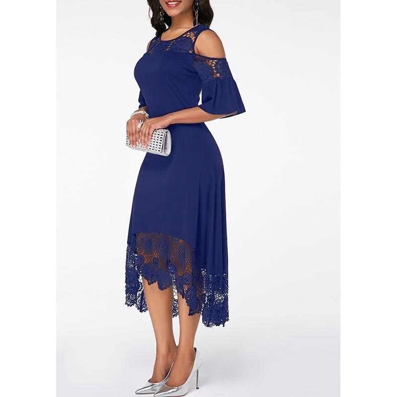 Vestidos de la madre de la novia del cordón de la Marina longitud del té 2019 cuello redondo media manga vestido de fiesta de boda vestido de madrinha