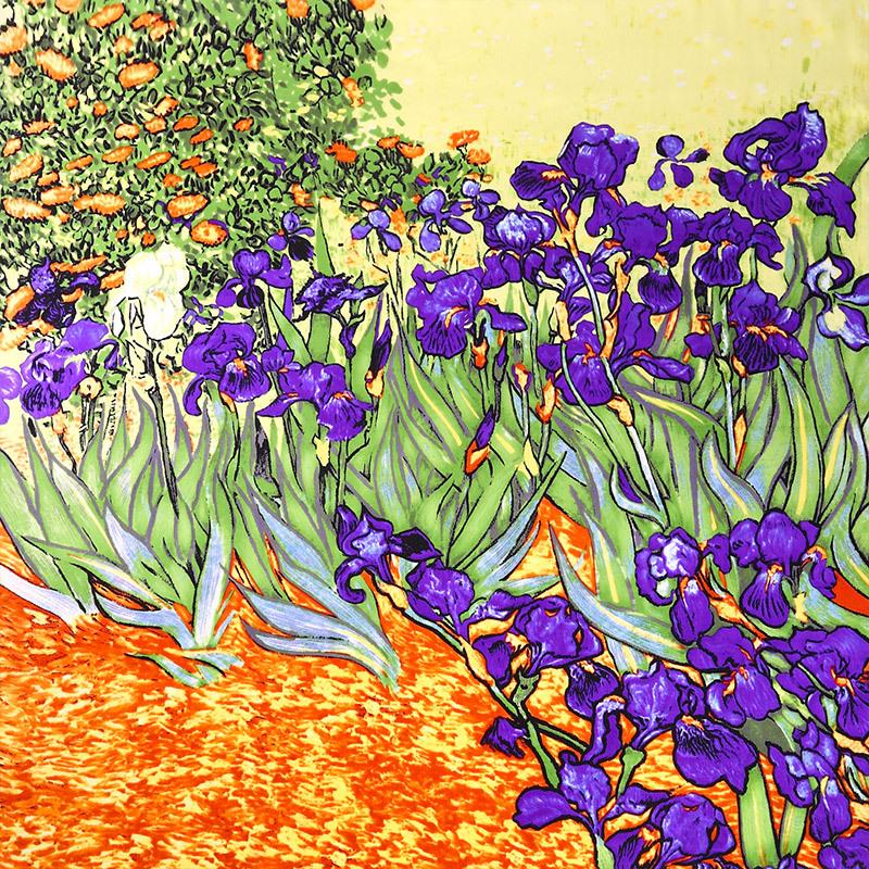 Van Gogh Oil Painting 100% Real Silk Scarf 88*88cm Fashion Women Scarf Luxury Brand Designer Big Square Scarves Female Wraps