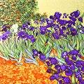Van Gogh Oil Painting 100% Real Silk <font><b>Scarf</b></font> 88*88cm Fashion Women <font><b>Scarf</b></font> Luxury Brand Designer Big Square <font><b>Scarves</b></font> Female <font><b>Wraps</b></font>