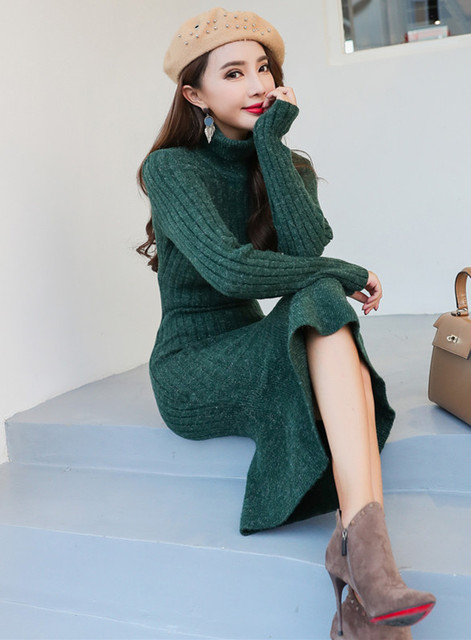 2018 Fashion Autumn Winter Pullover Mermaid Dresses Women's Warm Turtleneck Knitting Sweater Long Sleeve Slim Bodycon Dress