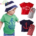 Summer Boys Clothes Baby Boy Clothing Set Pirate Ship Cartoon T-shirt Striped Shorts 2pcs Set Children Kids Toddlers Clothes Set