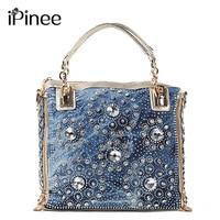 iPinee denim jean casual women handbags designer weaving shoulder bags rhinestone decorative womens messenger bag totes