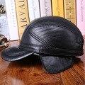 New brand 100%  genuine cowhide leather baseball caps  men  cap trucker snapback  peaked cap B-0574