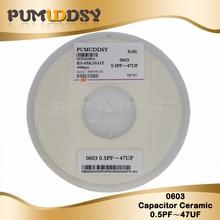4000pcs 0603 smd capacitor ceramic 0.5pf 22pf 100pf 10pf 10nf 100nf 1uf capacitors kit sets 0.5pF-22uF цена