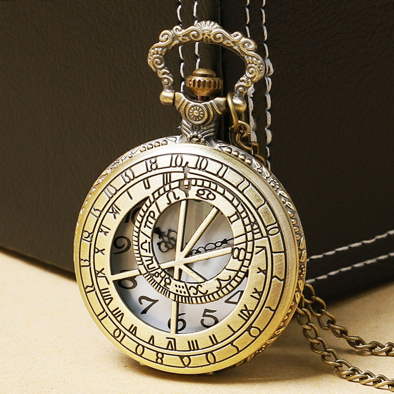 Retro Design Sundial Time Antique Necklace Pocket Watch Quartz Movement Men Watches Gift