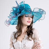 Folding Beach Sunscreen Sun Hat Women Summer Flower Pearl Net Yarn Cap European And American Style Hat Wide Brim Hat Outdoor
