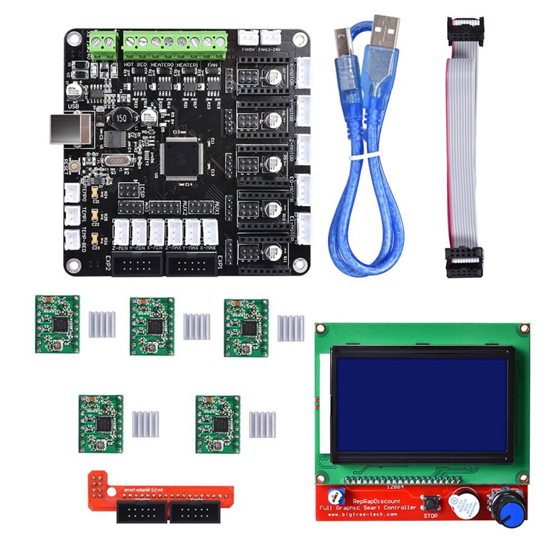 Kfb3.0 3D Control Board +Lcd 12864 Module Display Monitor Motherboard + A4988 Stepstick Stepper Motor Driver Module For Reprap