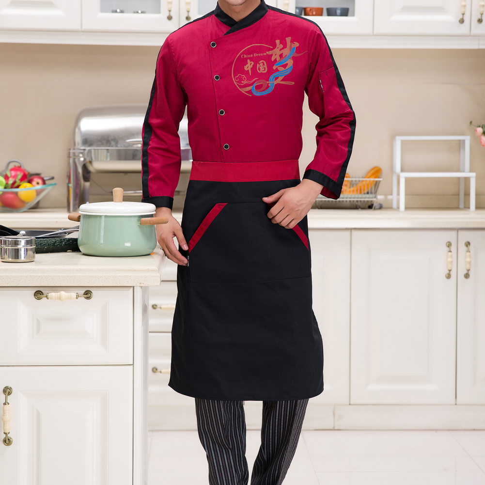 White half apron with pockets - Brief Half Apron With Two Pockets Chef Waiter Kitchen Apron For Men Women Black Red