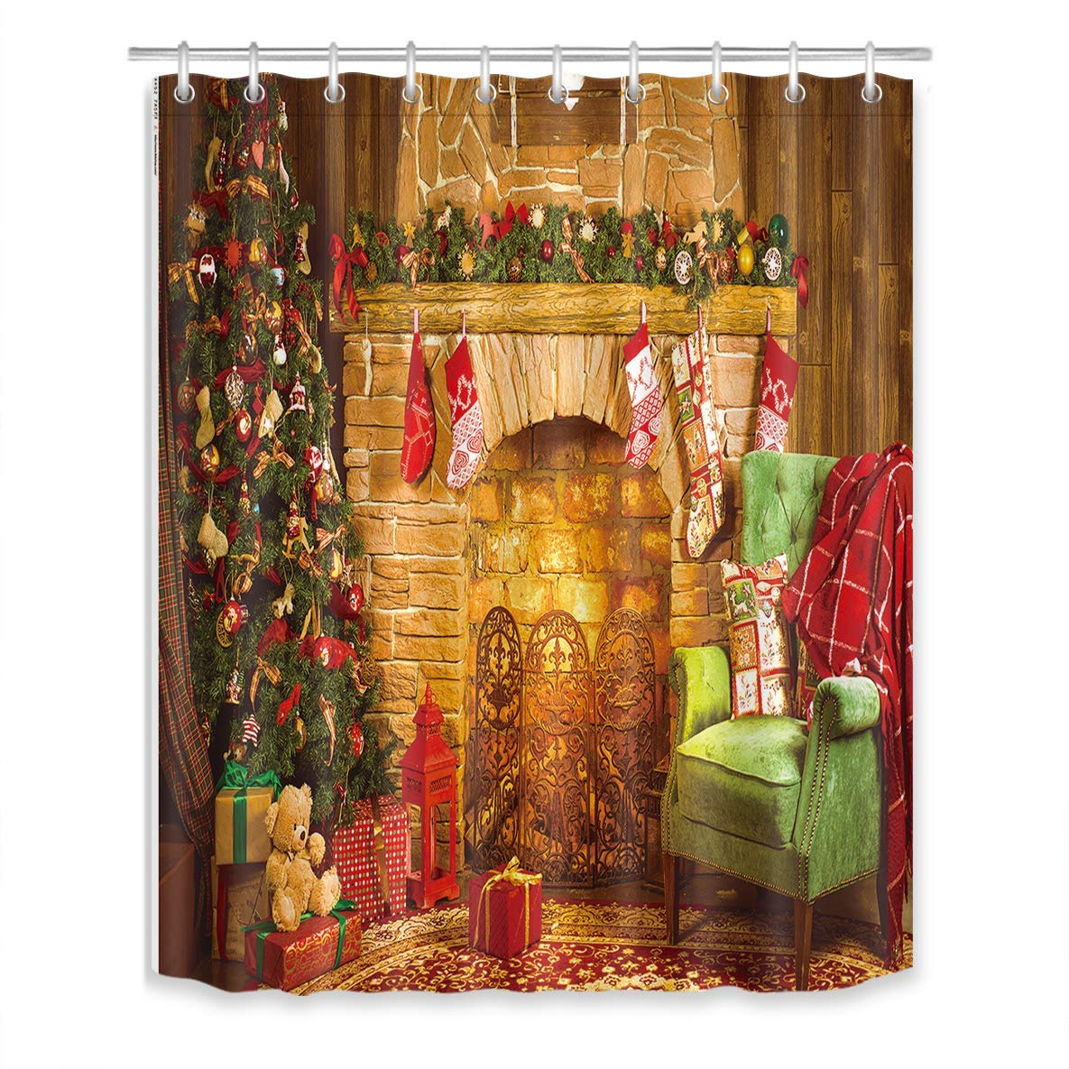 Us 18 28 Christmas Tree Gift Fireplace Shower Curtain Bathroom Curtain With Hooks Polyester Fabric Bathtub Curtain Mildew Resistant In Shower
