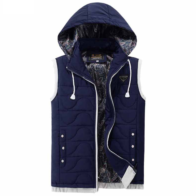 New Mens Hooded Jacket Sleeveless Vest Winter Fashion Casual Coats Male Cotton Padded Men s Vest