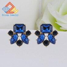 New Elegant Crystal Earrings Gem Stone Resin Stud Trendy Fashion Bijoux Bohemia Brincos