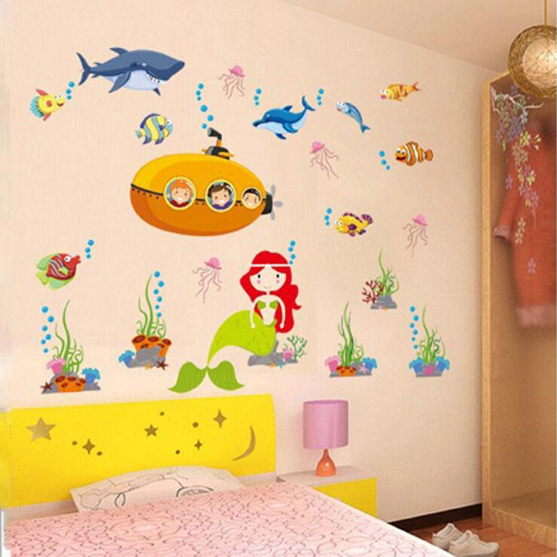 Buy maaryee removable submarine mermaid for Kids room wall decoration