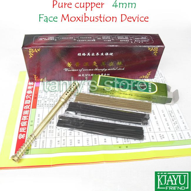 Free shipping! Pure Copper Small Size Moxibustion Device / Moxa cone (use 4mm moxa roll) 4set/lot pure cupper big size body moxibustion device moxa cone health beauty face tool 9pieces set 45 1 moxa roll