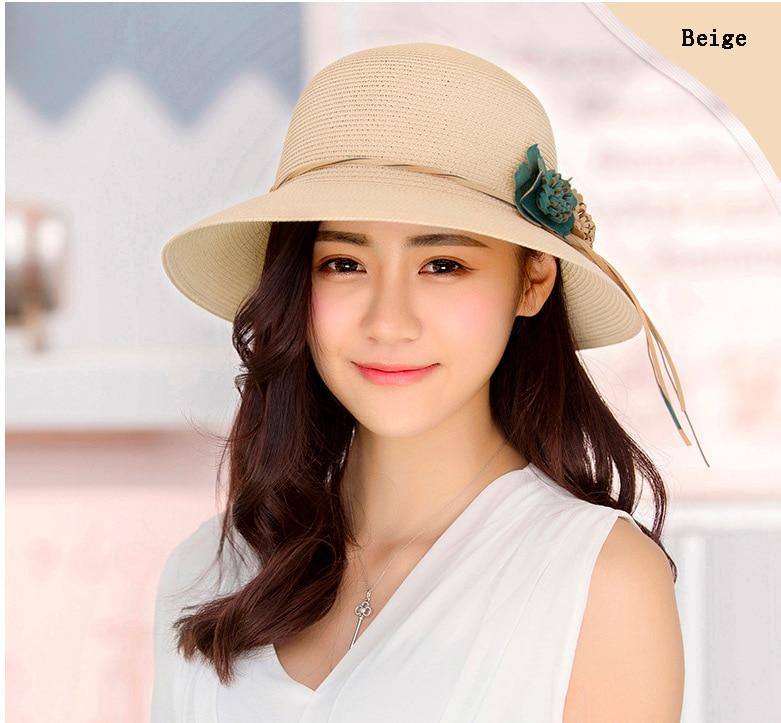 HTB1UHMCodrJ8KJjSspaq6xuKpXar - 2018 Summer New Solid Floppy Straw Hats For Women Flower Accessories ladies Summer Beach Sun Caps Panama Style Hat