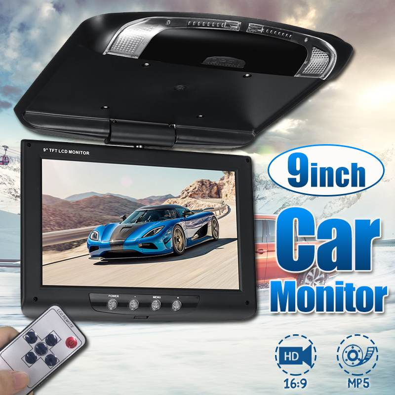Black 9 Inch TFT LCD Digital Screen Car Roof Mounted Display Monitor with Remote Controller Car Ceiling Flip Down DVD CD Player