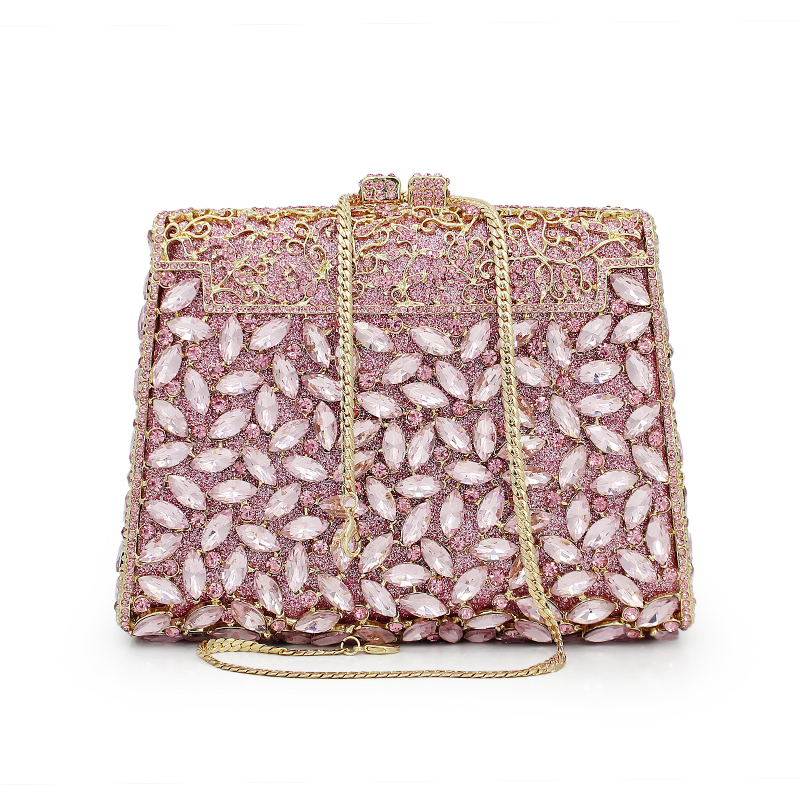 New arrival luxury evening clutch bags Handcraft crystal clutch purse diamond women party evening bags handbags (88142A-P)