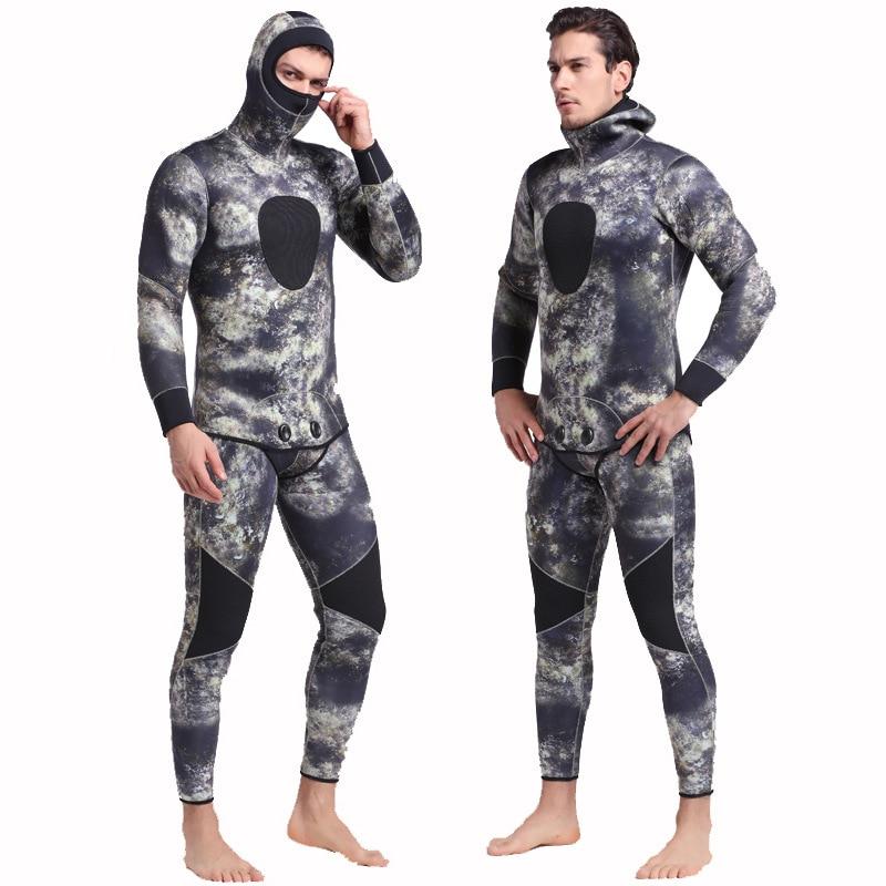 Origineel Mannen Plus Size Duiken Wetsuit Warm Houden 3mm Neopreen Twee Stukken Volledige Pak Blind Stiksels Jumpsuit Surfen Pak Afdrukken Camouflage