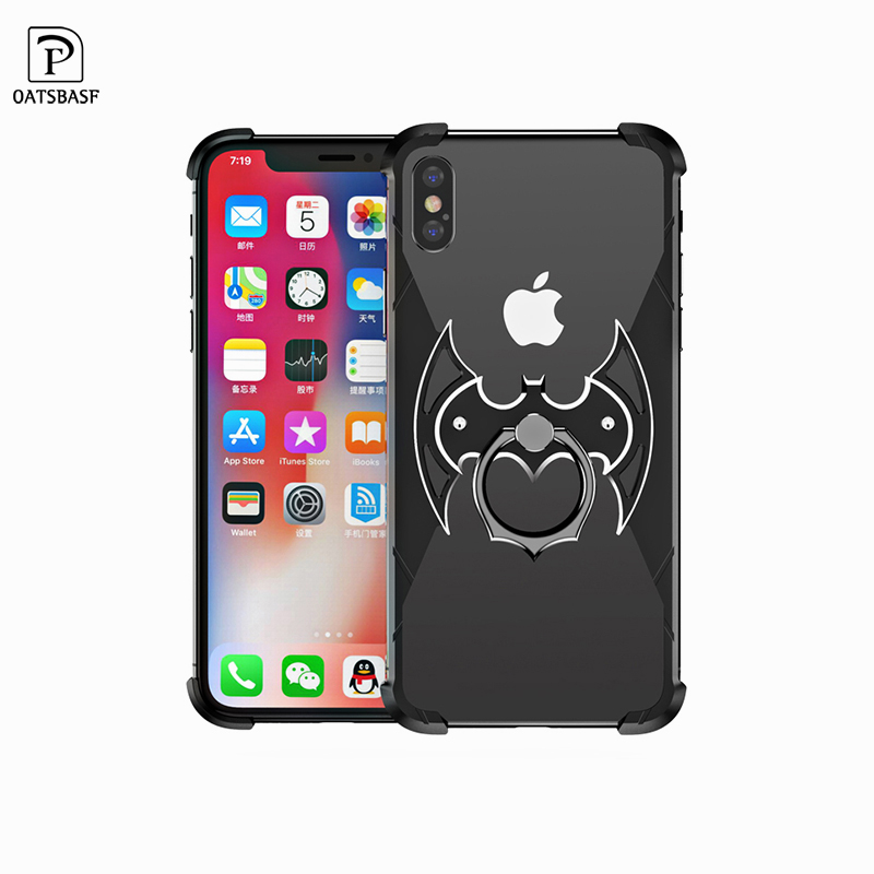 OATSBASF Bat Shape Metal Airbag Case for iPhone XS Max XR XS X Case with ring holder Bat Ring Bracket Shell Metal Bumper Cover