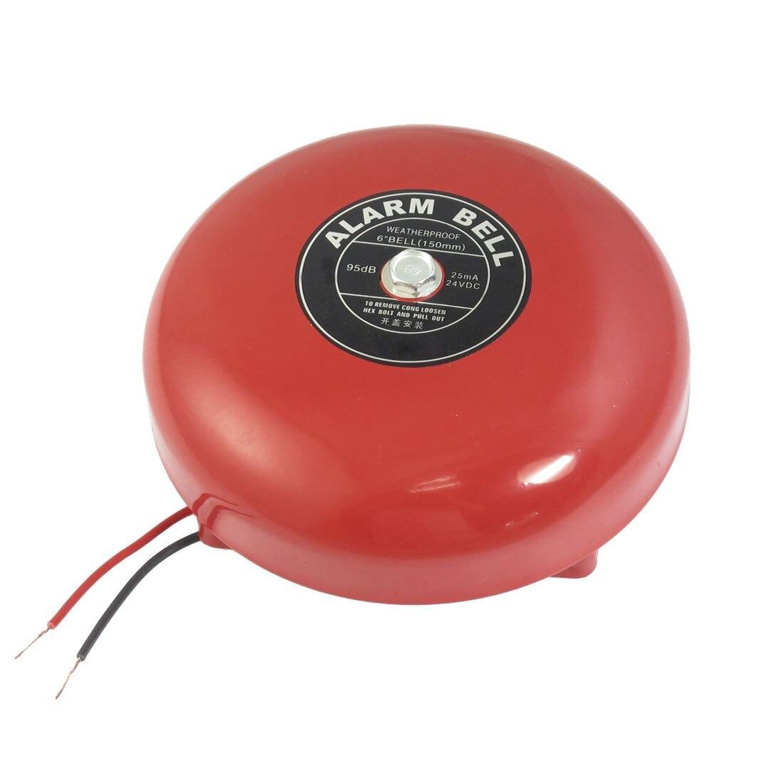 2 pcs of MOOL DC 24V 25mA 95db 150mm 6 Diameter Metal Electric Round Alarm Bell Red2 pcs of MOOL DC 24V 25mA 95db 150mm 6 Diameter Metal Electric Round Alarm Bell Red