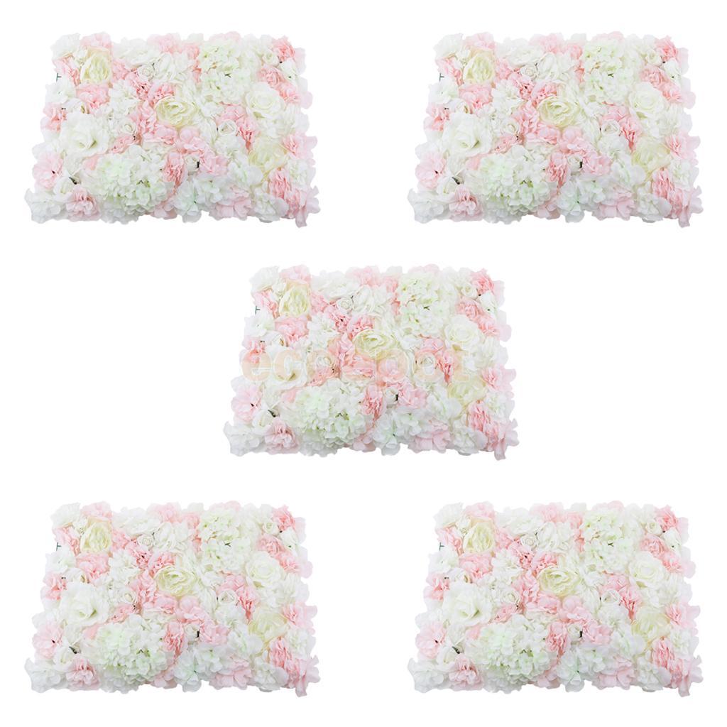 MagiDeal 5 sztuk ścianka ze sztucznych kwiatów Panel miejsce na ślub kwiat Decor dla strona dekoracji DIY Scrapbooking sztuczny kwiat różowy w Sztuczne i zasuszone kwiaty od Dom i ogród na  Grupa 1
