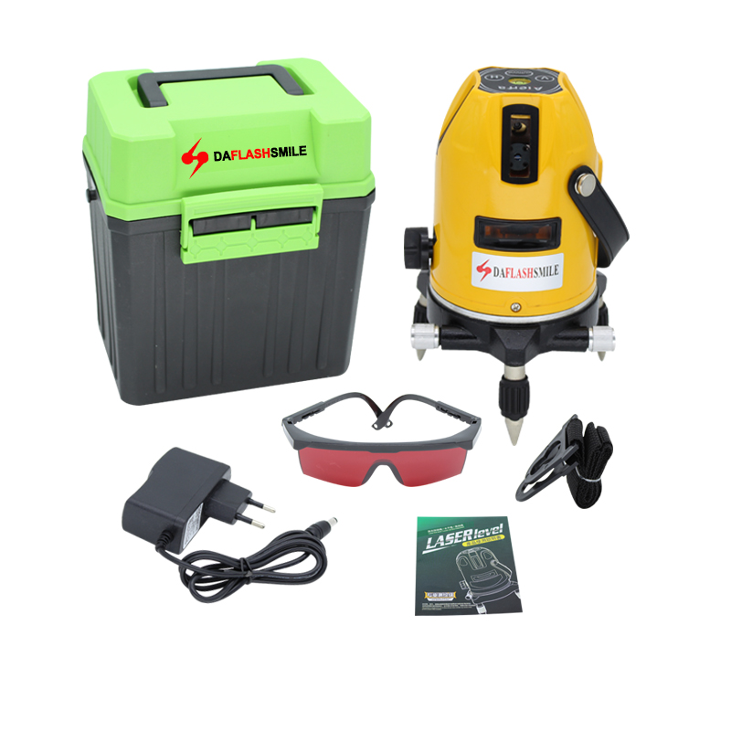 Strong Thick Bright Red Lines Laser Level 5 Lines 6 Points 360 Rotary Tilt Slash Available Horizontal Vertical Super Power Lines
