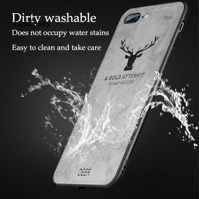 De Lujo funda de tela para iPhone 7 Plus X XR Xs Max lindo ciervo funda para iPhone 7 7 6 S 6 plus 5 5S SE cubiertas del teléfono a prueba de golpes a prueba