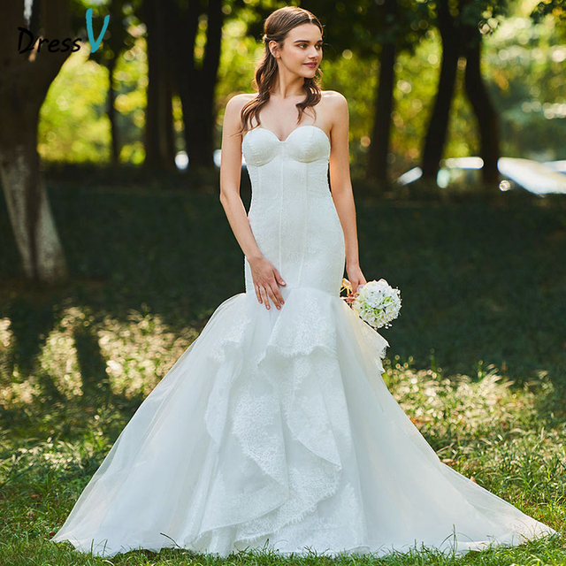 Dressv Long Wedding Dresses Sweetheart Neck Sleeveless Court Train Mermaid Lace Tulle Garden Church Custom Wedding Dresses