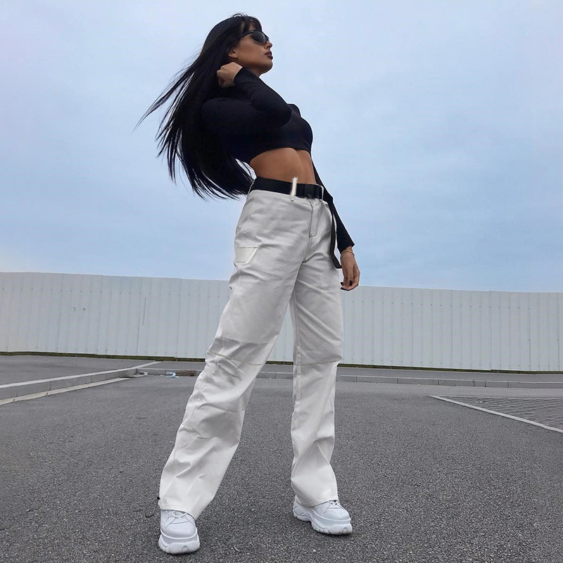 2019 Streetwear Cargo   Pants   Women Casual Joggers White High Waist Loose Female Trousers Korean Style Ladies   Pants     Capri   L194
