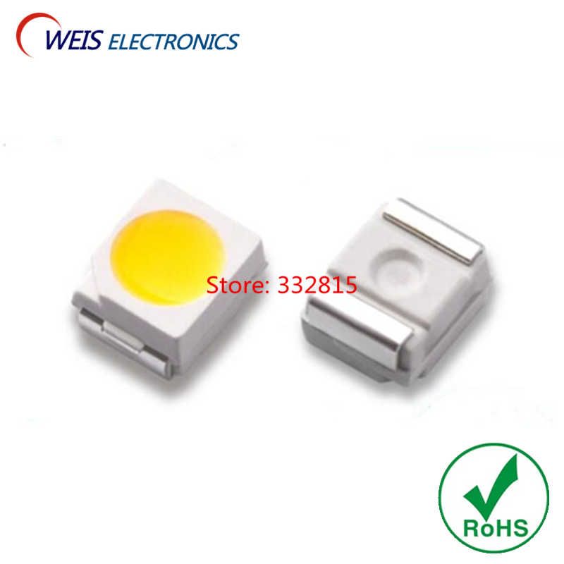 100PCS 3528 White LED SMD-2 1210 Pure White 6000-7000k 3.0-3.2v 4-5lm 6-7lm 7-8lm Ultral Bright Light Beads RoHs Free Shipping