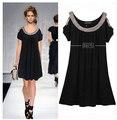 Женщины Лето Dress свободную Одежду Платье Повседневные Платья Большой Размер Dress С Коротким Рукавом С Плеча Бисером C22
