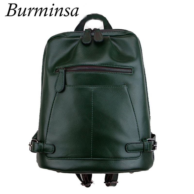 Burminsa Preppy Style Genuine Leather Backpack For Teenage Girls Women's Designer Travel Bags Ladies Shoulder School Bags 2018