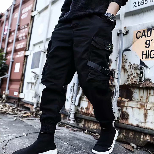 2019 NEW Streetwear Ribbons Casual SweatPants Black Slim Mens Joggers Pants Side-pockets Cotton Camouflage Male Trouser 2