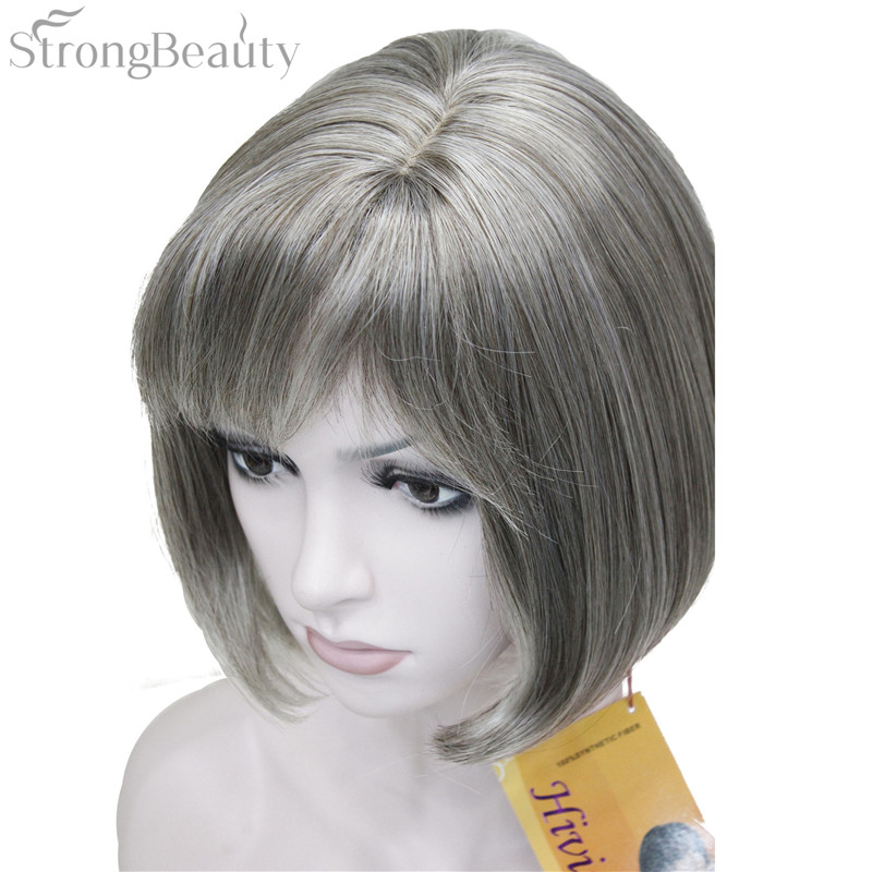 Strong Beauty Short Hair Synthetic Bob Wig Straight Blond Silver Gray Wigs In None Lace From Extensions On Aliexpress