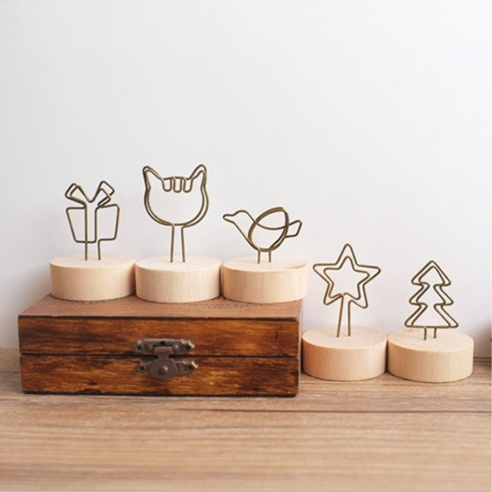 1PC Cat Wood Memo Clips Card Holder Stand DIY Desktop Paper Bookmark Clips For Photo Message Office Supplies Handmade Stationery