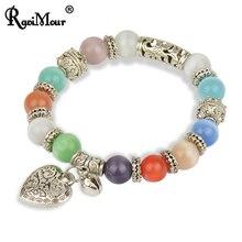 RAVIMOUR Vintage Bracelets & Bangles for Women Men Jewelry Silver Color Heart Bell Elastic Charm Crystal Bracelet Femme Bijoux
