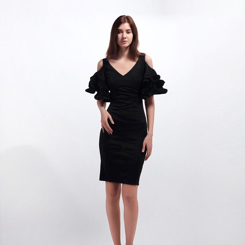 Women Dress Summer Off Shoulder V-Neck Ruffles Short Sleeve Bodycon Dresses Ladies Knee-Length Party Dress streetwear